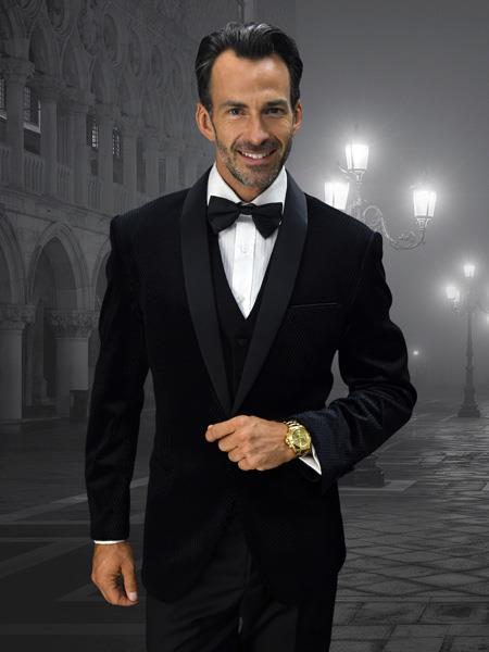 Buy VS101 Alberto Nardoni Mens Velvet Suit Jacket & Pants (Matching ) Black