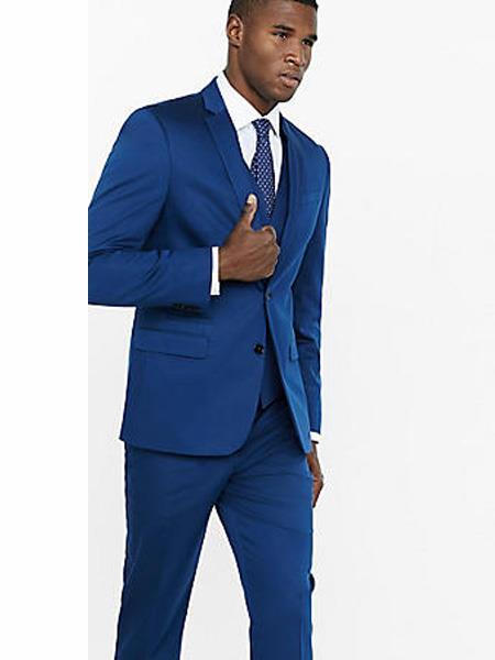 Men's Bright Blue Shawl Lapel Tuxedo Suit