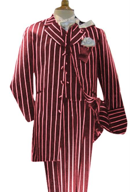 WTXZoot20 2020 New Formal Style Mens Maroon High Fashion Single Breasted Bold Pronounce White Pinstripe T Pre order For September/1/2020