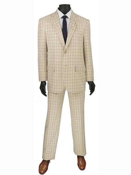 1970s Men's Suits History | Sport Coats & Tuxedos 2 Buttons Plaid  Window pane Suit Blazer Jacket Pants Beige $125.00 AT vintagedancer.com