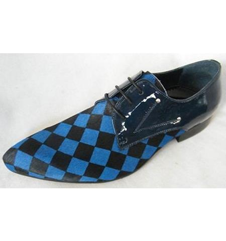 Men's Soft Genuine leather Three Eyelet Lacing Cap Toe Print Black ~ Blue Unique Zota Men's Dress Shoe