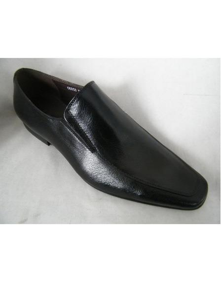 Men's Slip On Cushioned Insole Soft Genuine leather Black Cap Toe Unique Zota Men's Dress Shoe