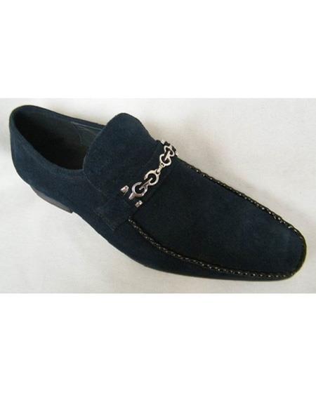 Men's Slip On Navy Chain Link Strap Soft Genuine leather Cap Toe Unique Zota Men's Dress Shoe