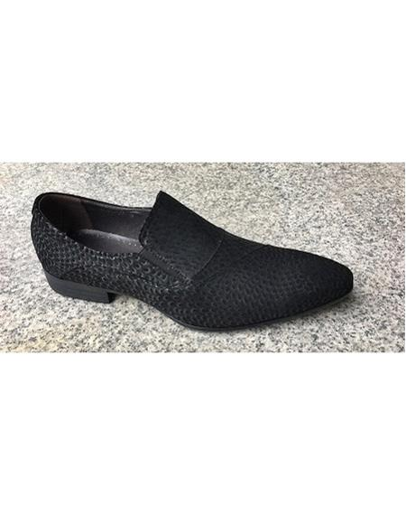 Men's Black Soft Genuine leather Cushioned Insole Slip On Textured Design Unique Zota Men's Dress Shoe