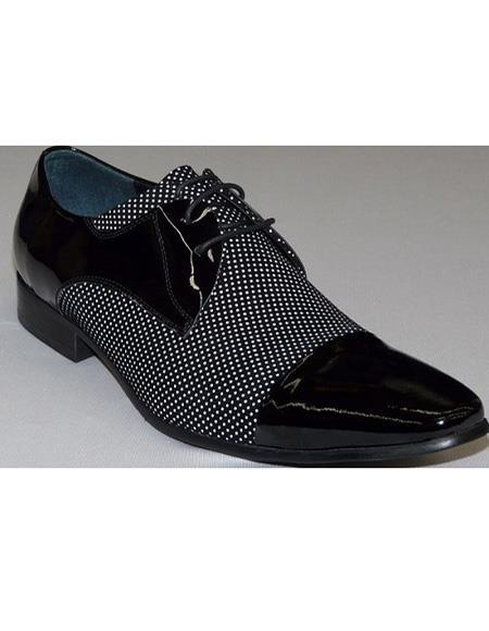 Men's Black ~ White Cushioned Insole Three Eyelet Lacing Cap Toe Unique Zota Men's Dress Shoe
