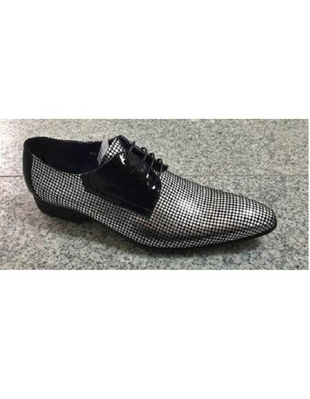 Men's Silver Leahter Four Eyelet Lacing Polka Dot Design Pattern Unique Zota Men's Dress Shoe