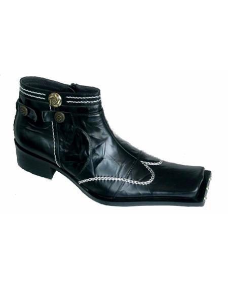 Men's Black Soft Genuine leather Cushioned Insole Square Unique Zota Men's Dress Shoe