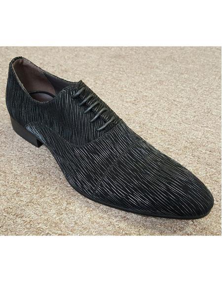 Men's Black Unique Pattern Five Eyelet Lacing Cushioned Insole Unique Zota Men's Dress Shoe
