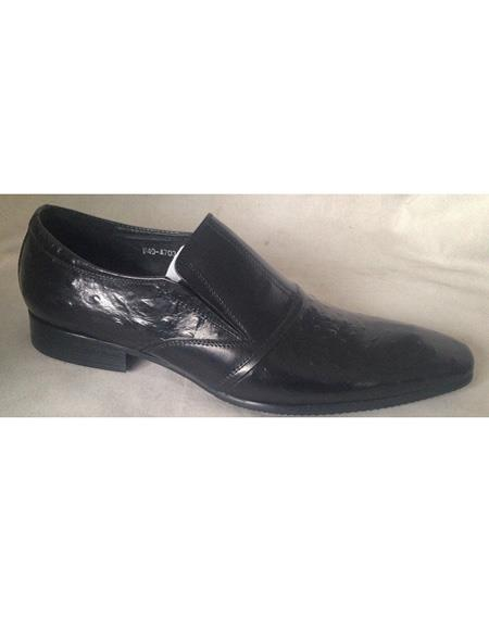 Men's Slip On Soft Genuine leather Black Cushioned Insole Unique Zota Men's Dress Shoe