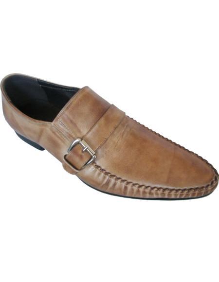 Men's Soft Genuine leather Taupe Slip On Cushioned Insole Unique Zota Men's Dress Shoe