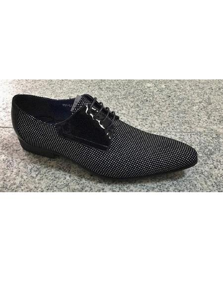 Mens Cushioned Insole Polka Dot Four Eyelet Lacing Black ~ White Soft Genuine leather Unique Zota Mens Dress Shoe