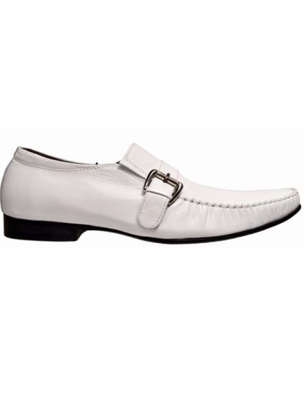 Men's White Slip On Soft Genuine leather Cushioned Insole Unique Zota Men's Dress Shoe