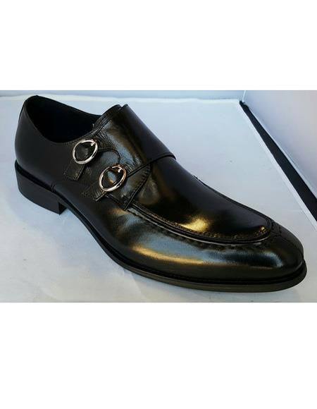 Men's Black Double Buckle Slip On Cushioned Insole Soft Genuine leather Unique Zota Men's Dress Shoe