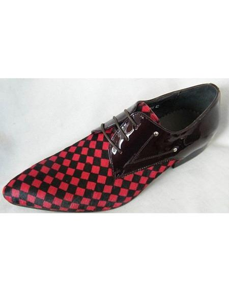 Men's Soft Genuine leather Three Eyelet Lacing Red Cushioned Insole Unique Zota Men's Dress Shoe - Red Men's Prom Shoe