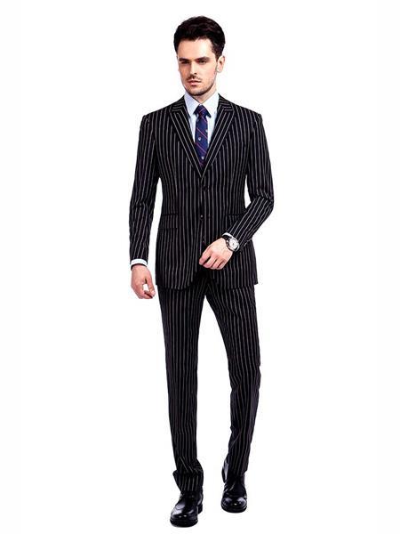 Men's Button Closure Pinstripe Designed Black / White Suit