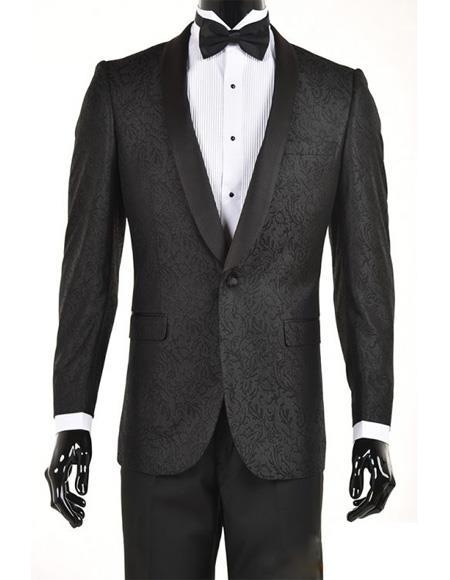 Men's Black One Button Slim Fit Velvet Paisley Suit