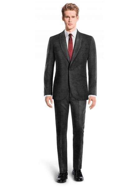 Mens Black One Button Velvet Suit