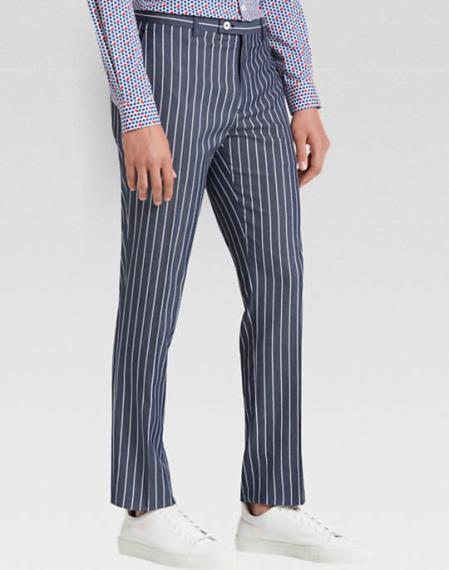 Mens Flat Front Pant White Pinstripe Slim Fit Suit Dark Navy