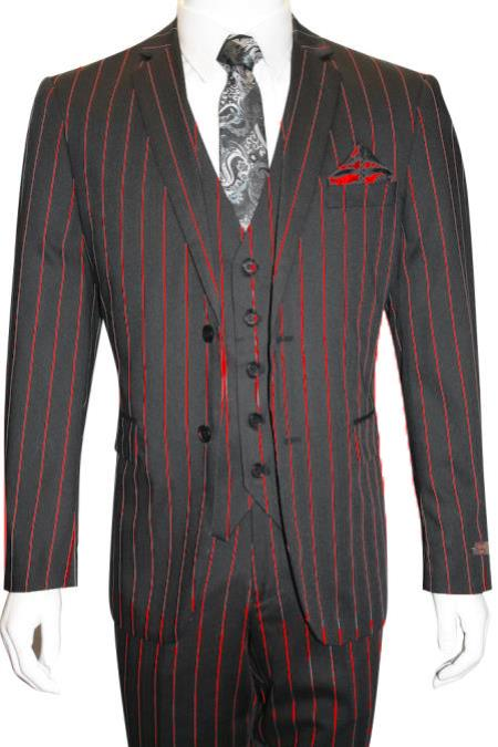 Red WIth Black Striped Suit