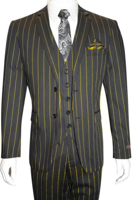 Black and Gold ~ Yellow Pinstripe Chalk Custom Looking Pimp Mobster 1930 Two buttons Vested 3 Pieces