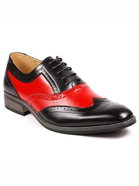 Buy MO795 Men's Two Tone Wing Tip Lace Oxford Black / Red Dress Shoes