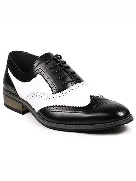 Men's Two Tone Wing Tip Lace up Oxford Black / White Dress Shoes