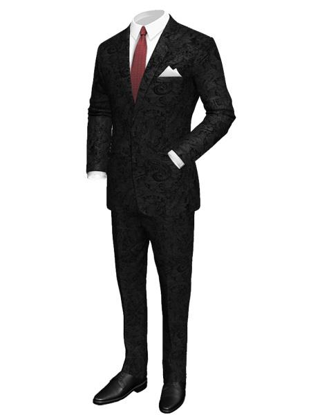 Men's 2 Button Paisley Designed Black Velvet Suit
