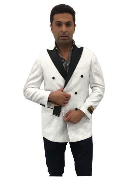 Mens White Double Breasted One Chest Pocket Blazer Sport Coat Blazer