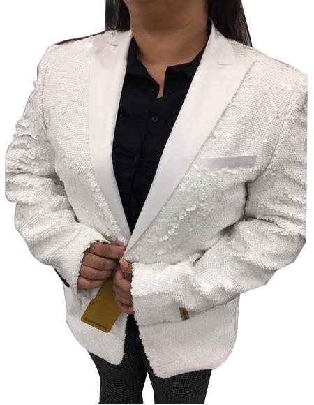 Mens White One Button Closure Cheap Priced Designer Blazer