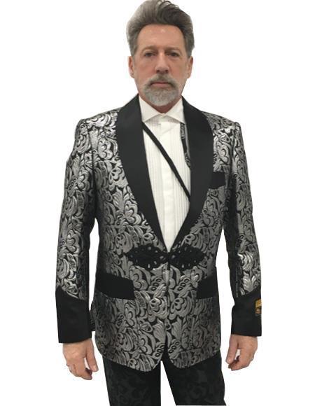 Men's  Shawl Lapel Black Flap Front Pocket Suit