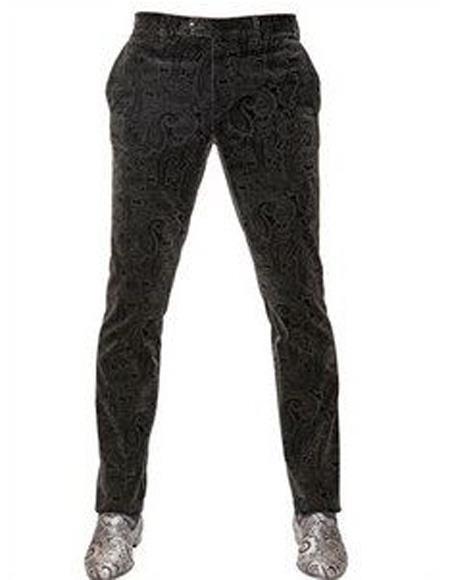 Men's Velvet Black Flat Front Pant Two Side Pockets