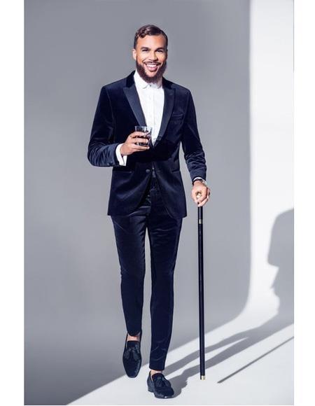 Mens Velvet Suit Tuxedo Dinner Jacket + Same Fabric Pants Suit Black Lapel Blazer Sport Coat Dark Navy Bl
