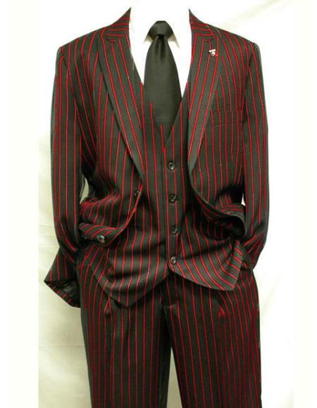 Men's  Black ~ Red Two Button Vest  Suit