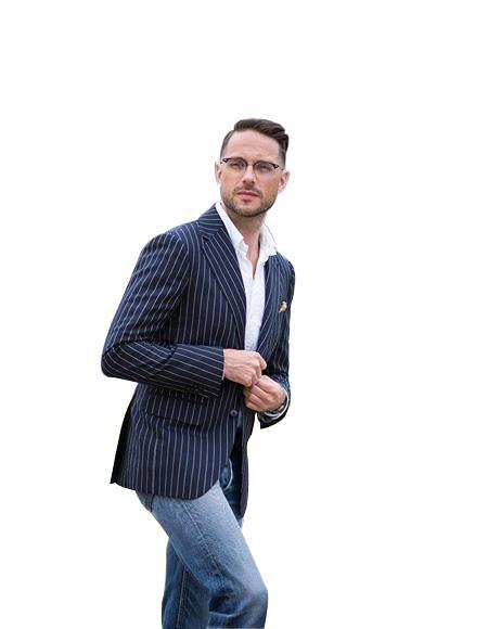 Men's  Blue ~ White Two Button  Suit