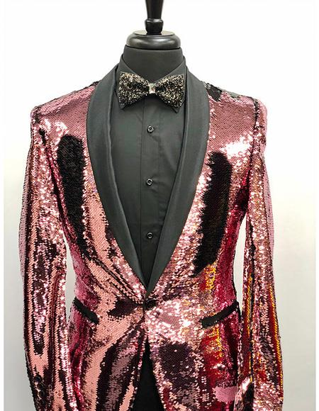 Rose Gold Tuxedo Sequin Shiny Flashy Stage ~ Prom Fancy Pinkish Blazer Dinner Jacket Prom Wedding