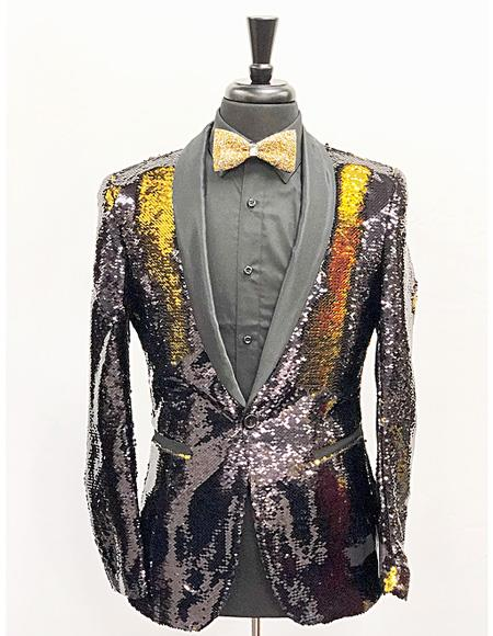 Men's Slim Fit Gold ~ Black Shawl Lapel Cheap Priced Designer Fashion Dress Casual Blazer On Sale One Button Sequin Shiny Flashy Stage ~ Prom Fancy Blazer