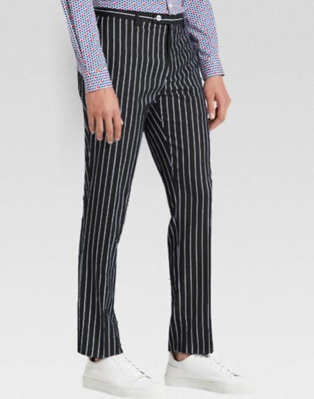 Men's slacks Black Ganagster Chalk Striped ~ Pinstripe 1920s Style Flat Front or  Pleated Pants Available In Big And Tall unhemmed unfinished bottom