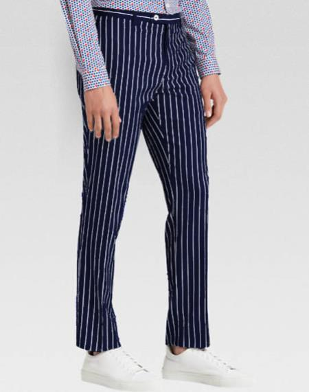 Men's slacks Dark Navy Blue Ganagster Chalk Striped ~ Pinstripe 1920's Style Flat Front or  Pleated Pants Available In Big And Tall unhemmed unfinished bottom