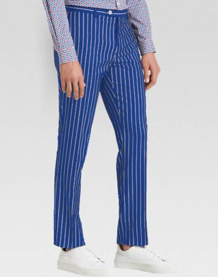 Men's slacks Royal Blue Ganagster Chalk Striped ~ Pinstripe 1920s Style Flat Front or  Pleated Pants Available In Big And Tall unhemmed unfinished bottom