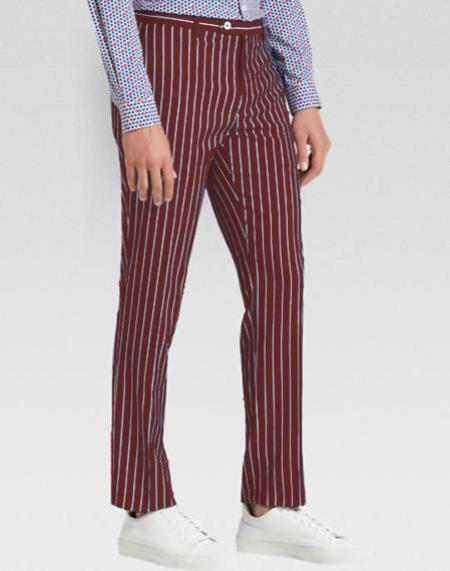 Men's slacks Burgundy Ganagster Chalk Striped ~ Pinstripe 1920's Style Flat Front or  Pleated Pants Available In Big And Tall unhemmed unfinished bottom