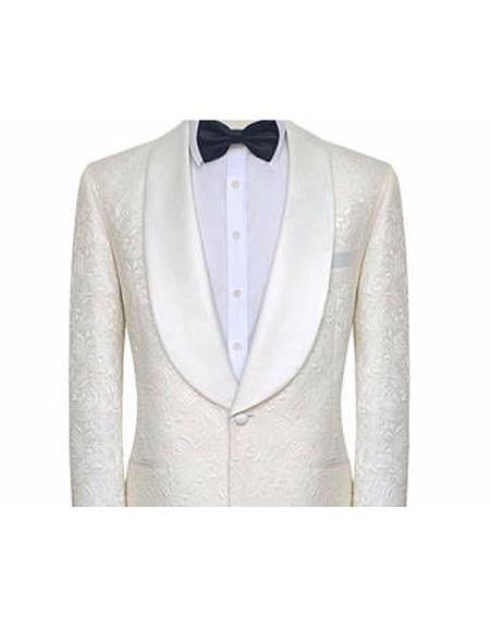 Mens White Single Breasted Shawl Lapel Tuxedo One Button