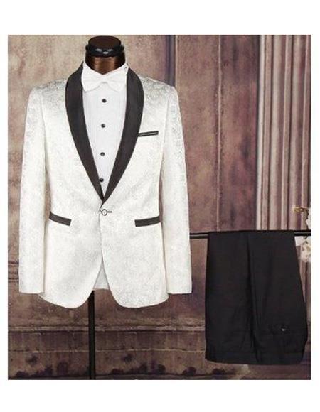 Mens Cream Single Breasted Shawl Lapel One Button Fabric Tuxedo