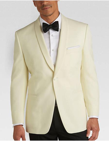 Mens One Button Cream Slim Fit Jacket