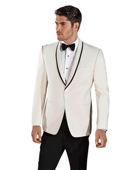 Mens Single Breasted Cream ~ Ivory Shawl Lapel One Button Tuxedo