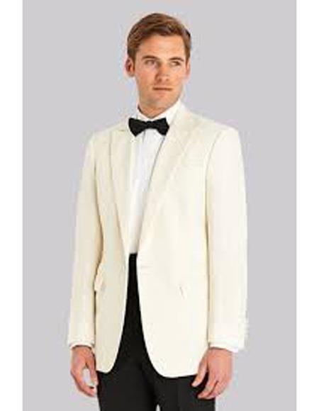 Buy EK244 Men's Single Breasted Fabric Peak Lapel Ivory Jacket One Button