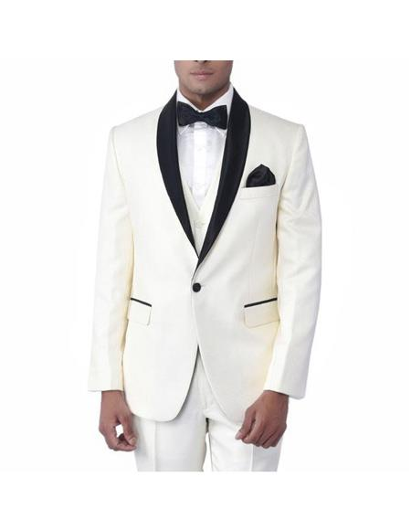 Mens Cream Single Breasted One Button Tuxedo Shawl Lapel