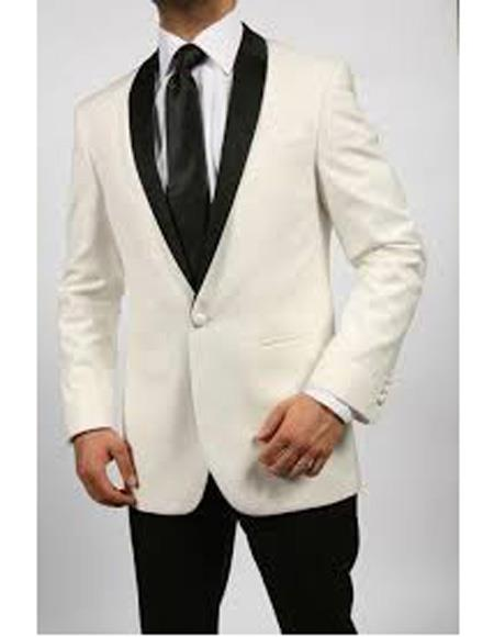 Mens One Button Shawl Lapel Single Breasted Ivory ~ Cream Tuxedo
