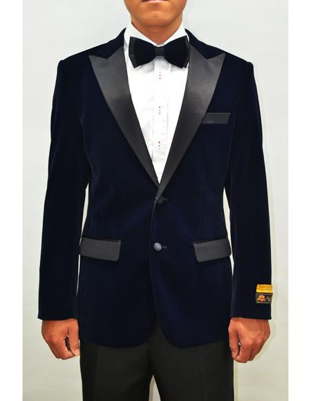 Peak Lapel Fashion Smoking Casual Velour Cocktail Tuxedo With Free Matching bowtie