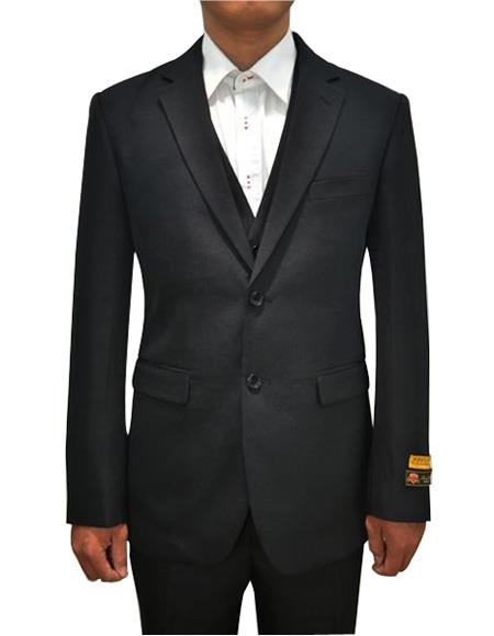 Men's Black 2 Button Vested 3 Piece Suit