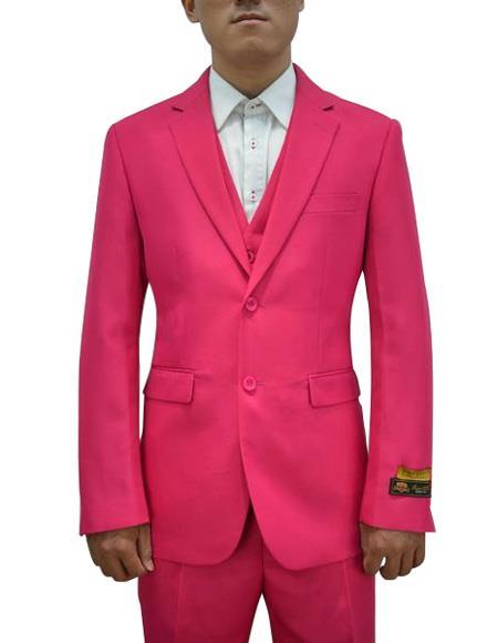 Men's Fushcia One Chest Pocket Vested 3 Piece Suit